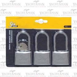 Trzy Kłódki nierdzewne 30mm DŁÓGIE z 3 kluczami kłódka