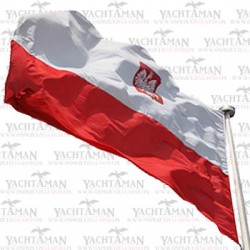 Bandera 20x30cm, Banderka, flaga Polski z Godłem