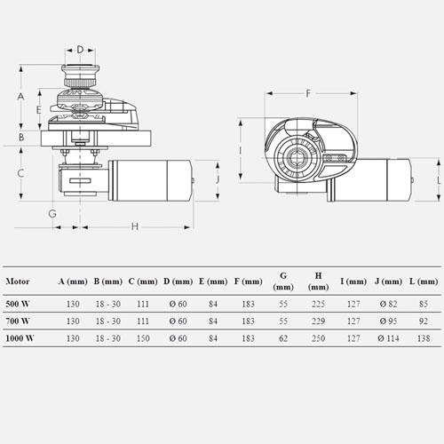 Lofrans rysunek techniczny i tabelka windy kotwicznej Project X1.